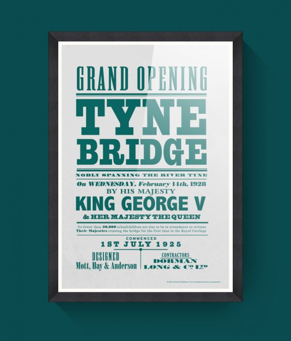 Tyne Bridge poster in frame
